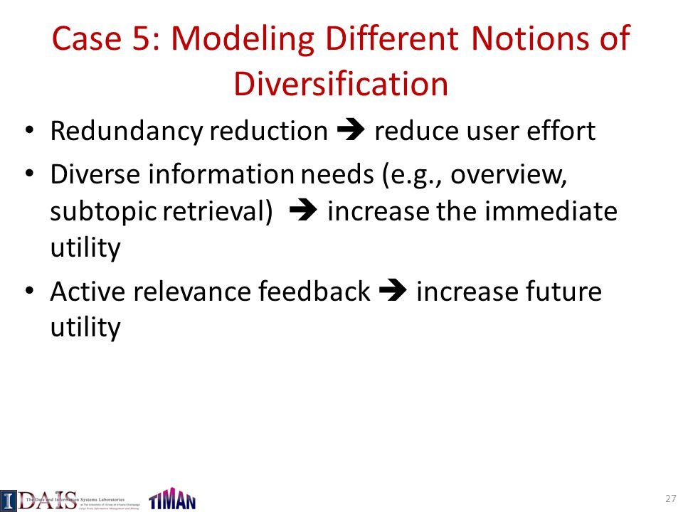 Case 5: Modeling Different Notions of Diversification
