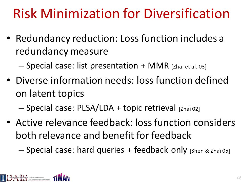 Risk Minimization for Diversification