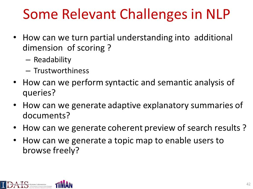 Some Relevant Challenges in NLP