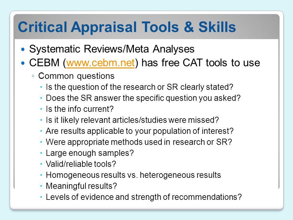 Critical Appraisal Tools & Skills
