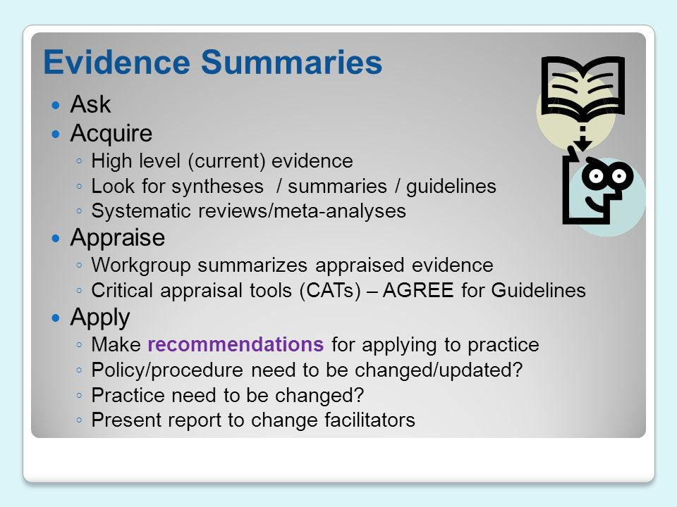 Evidence Summaries Ask Acquire Appraise Apply
