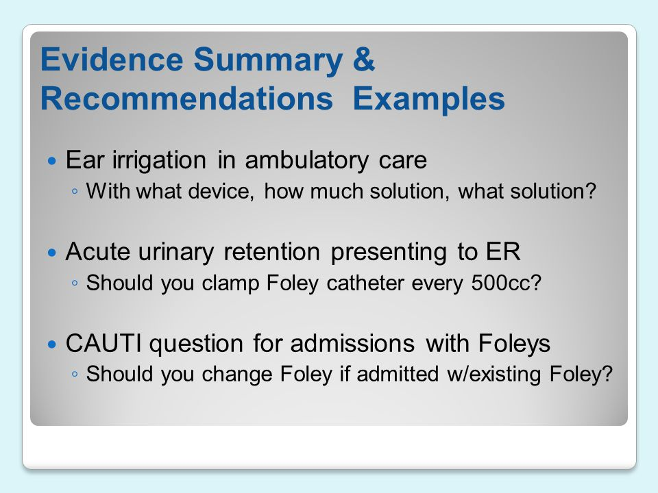 Evidence Summary & Recommendations Examples