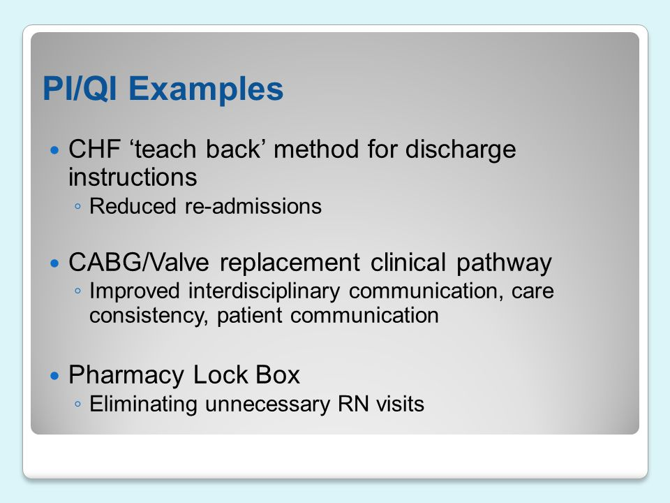 PI/QI Examples CHF 'teach back' method for discharge instructions