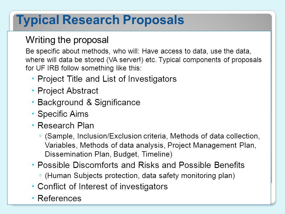 Typical Research Proposals