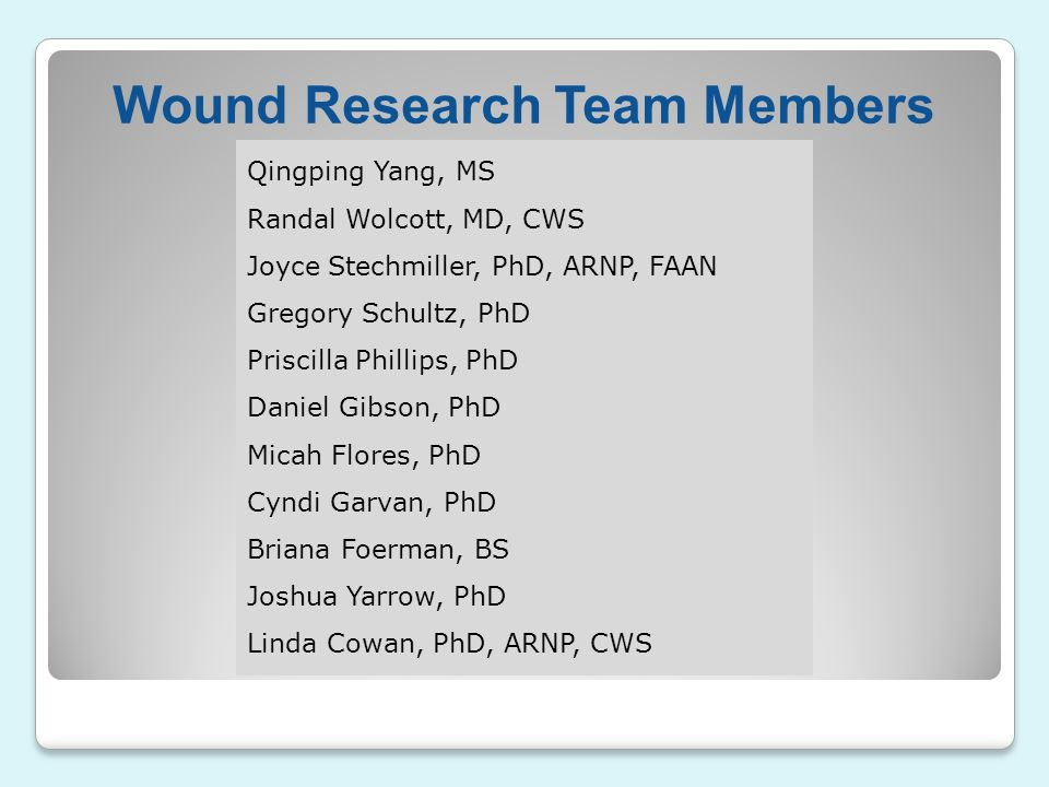 Wound Research Team Members
