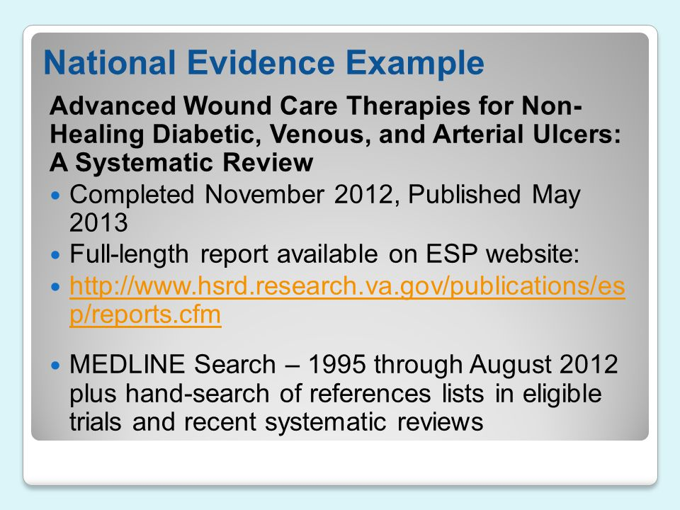 National Evidence Example
