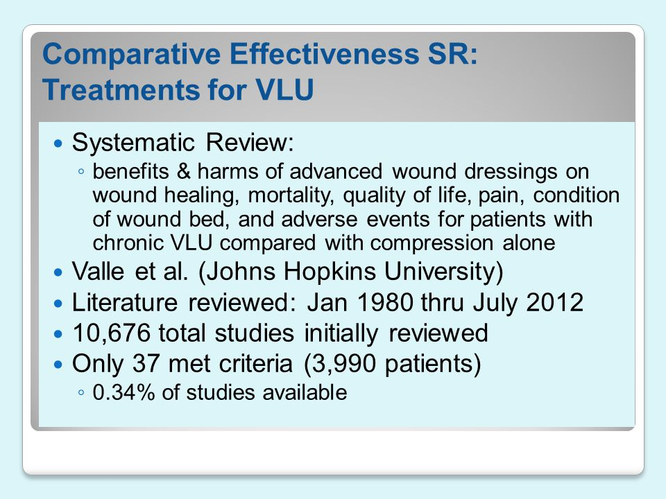Comparative Effectiveness SR: Treatments for VLU