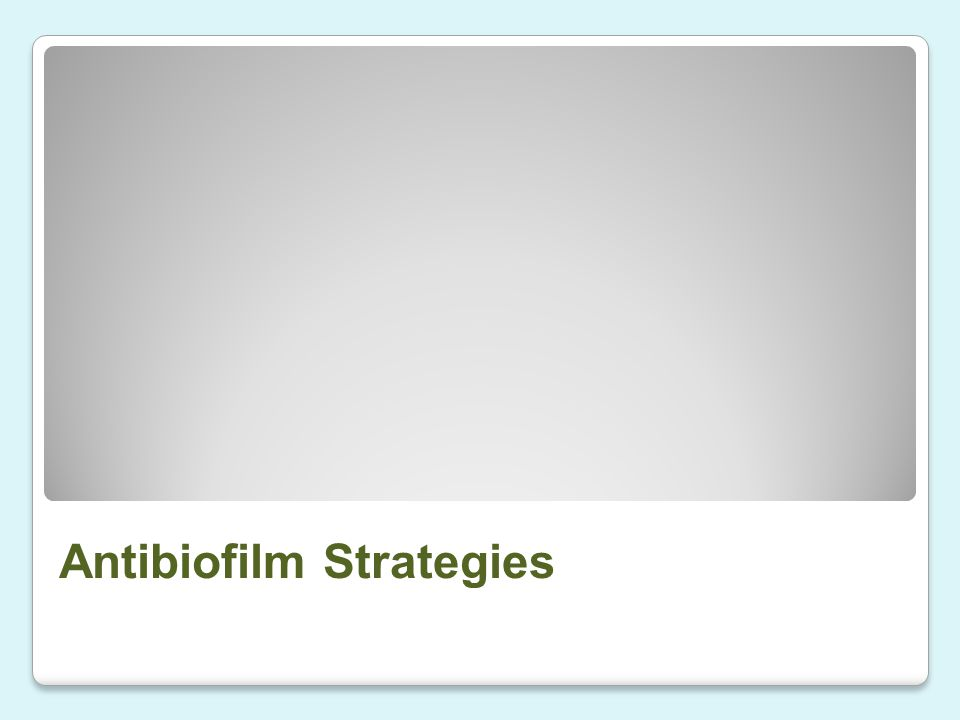 Antibiofilm Strategies
