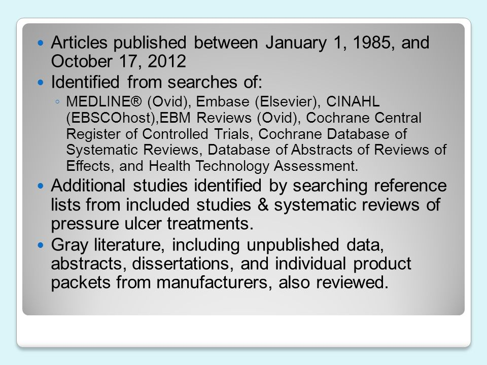 Articles published between January 1, 1985, and October 17, 2012
