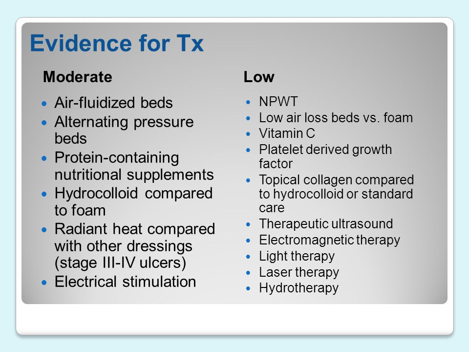 Evidence for Tx Moderate Low Air-fluidized beds