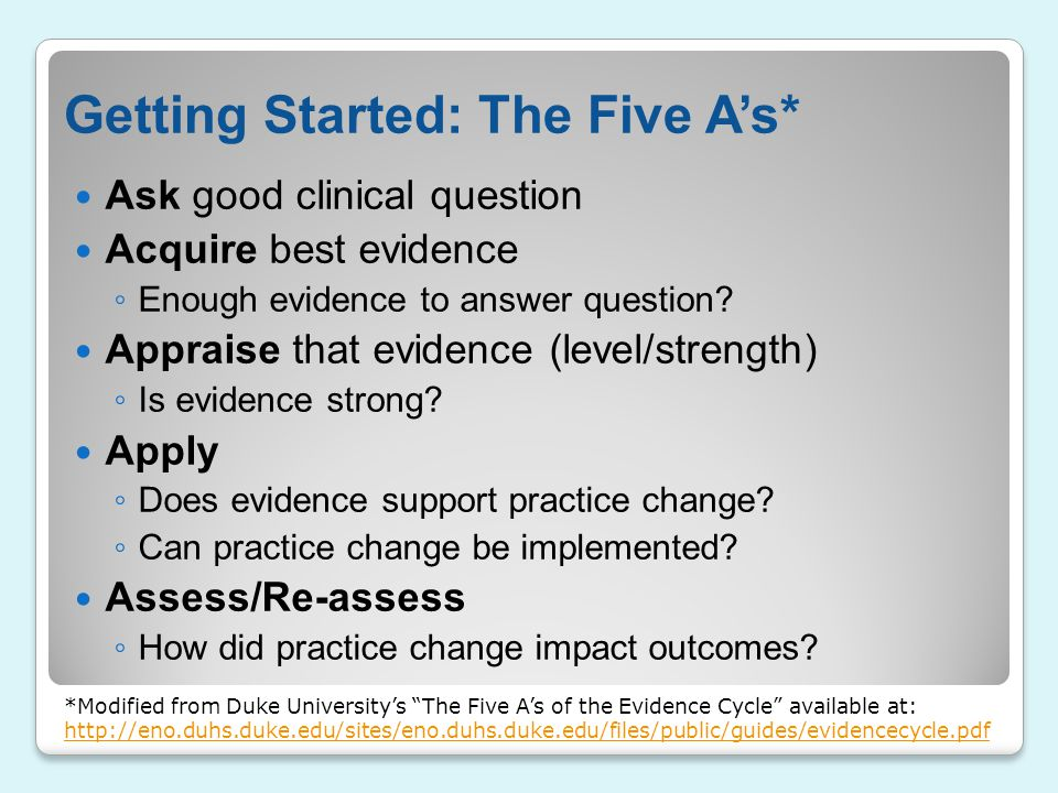 Getting Started: The Five A's*