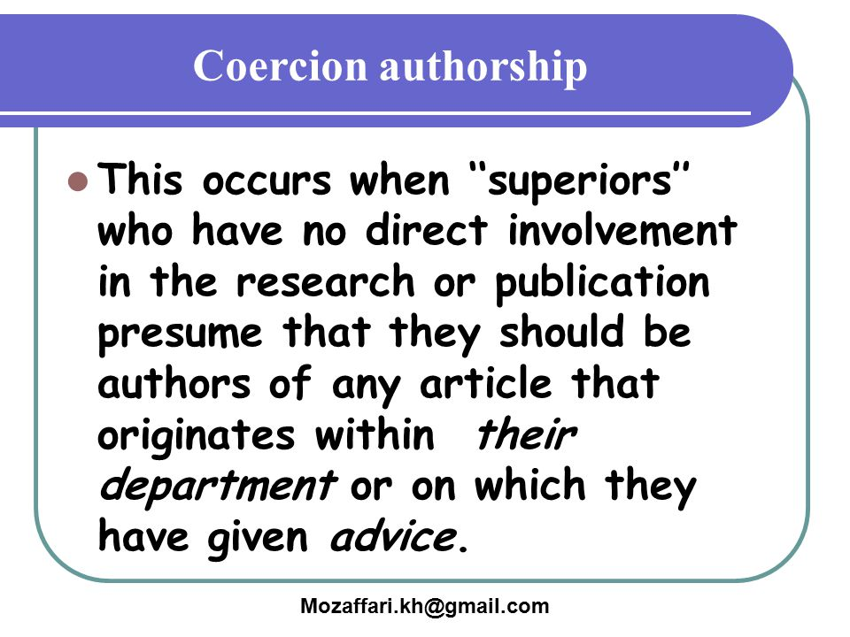 Coercion authorship