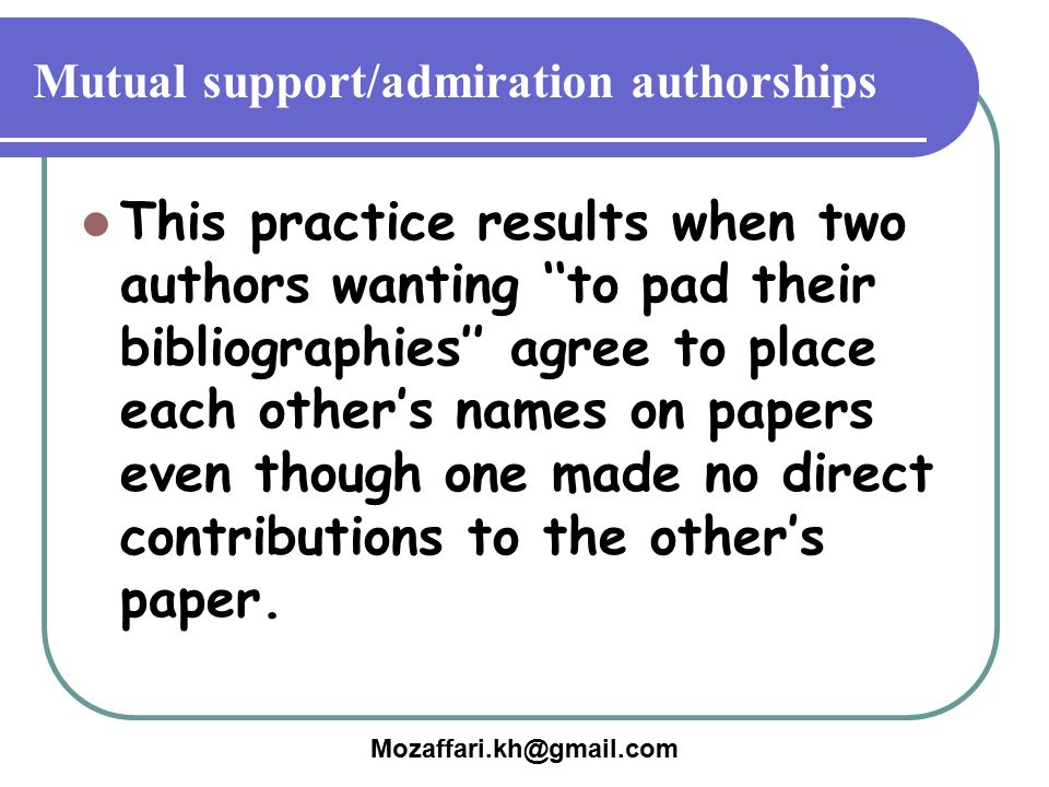 Mutual support/admiration authorships