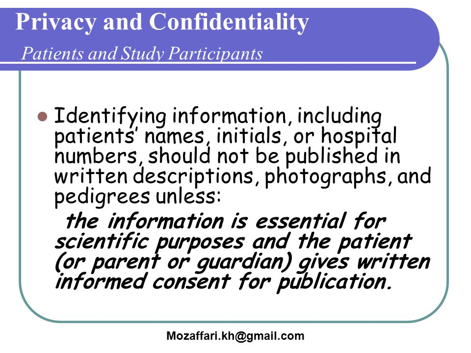 Privacy and Confidentiality Patients and Study Participants