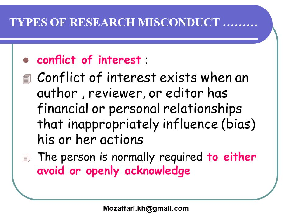 TYPES OF RESEARCH MISCONDUCT ………