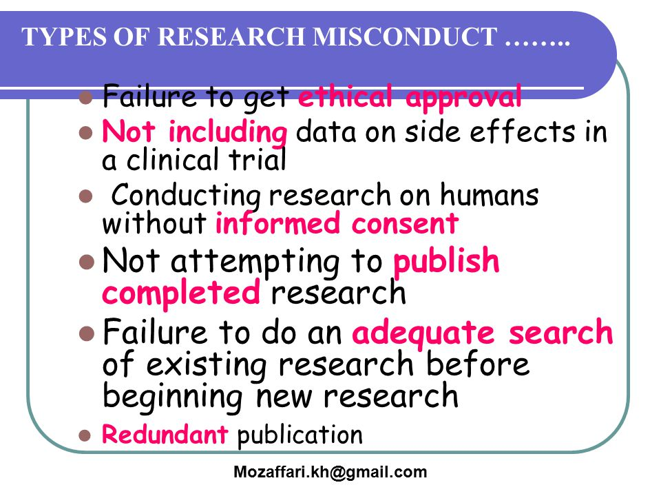 TYPES OF RESEARCH MISCONDUCT ……..