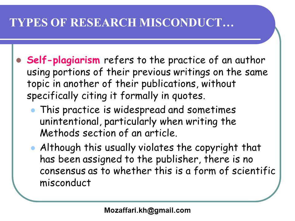 TYPES OF RESEARCH MISCONDUCT…