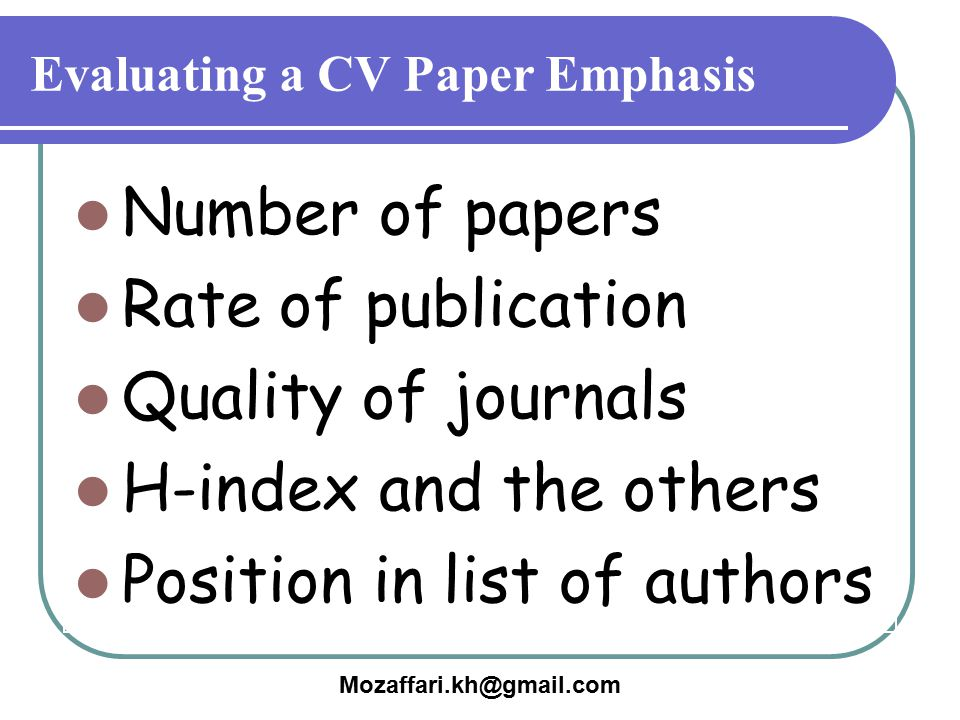 Evaluating a CV Paper Emphasis