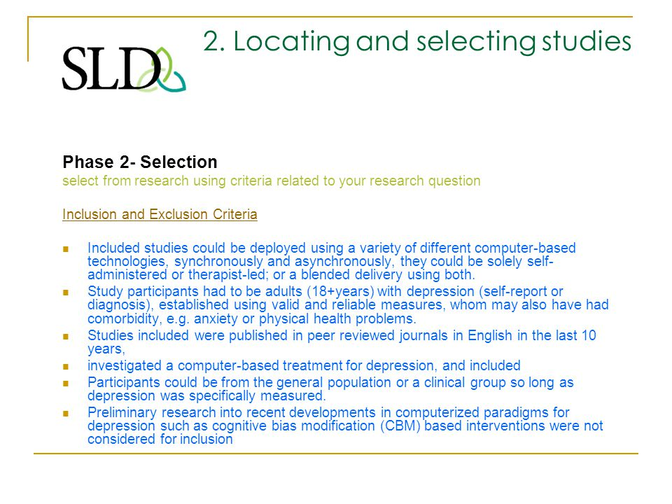 2. Locating and selecting studies