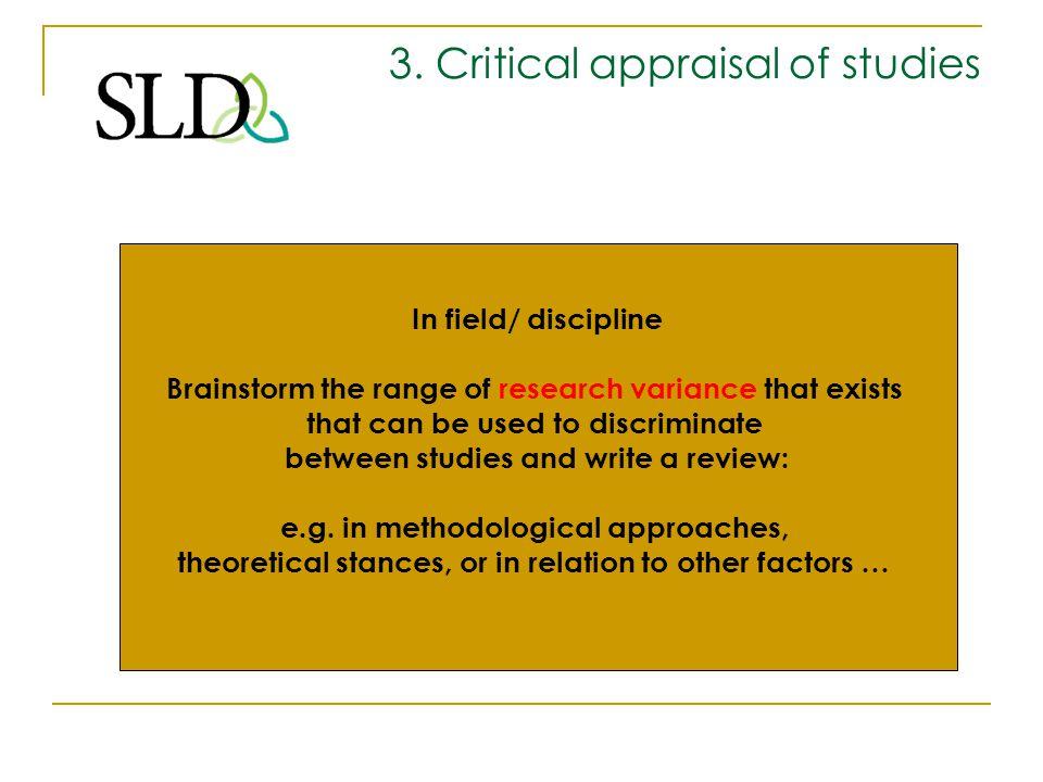 3. Critical appraisal of studies