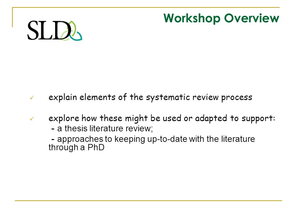 Workshop Overview explain elements of the systematic review process