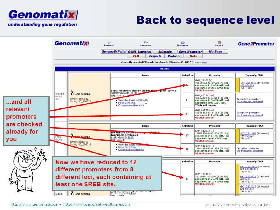 Back to sequence level ...and all relevant promoters are checked already for you.