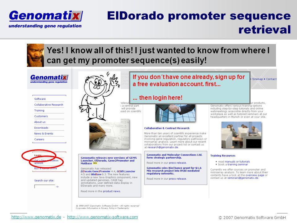 … www.genomatix.de ElDorado promoter sequence retrieval