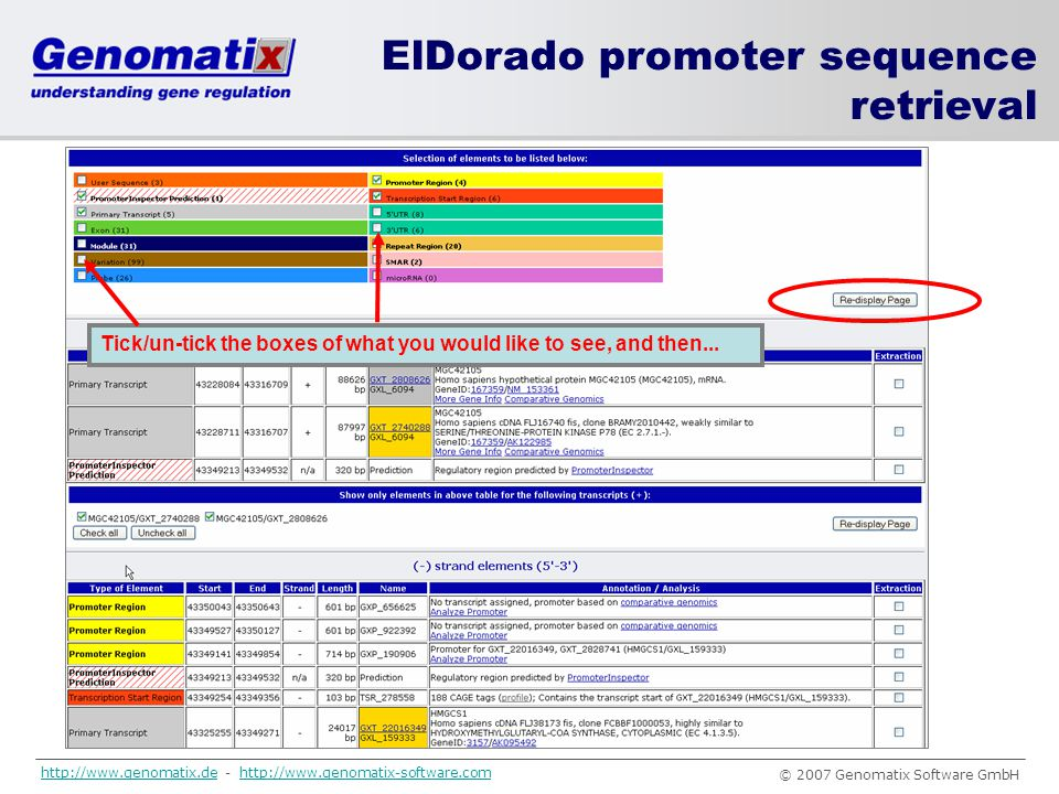 ElDorado promoter sequence retrieval