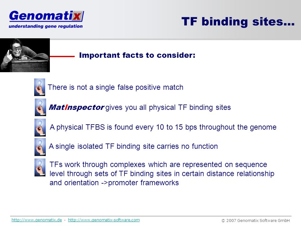 TF binding sites… Important facts to consider: