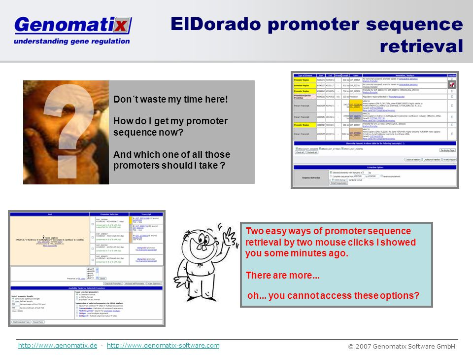 ElDorado promoter sequence retrieval Don´t waste my time here!