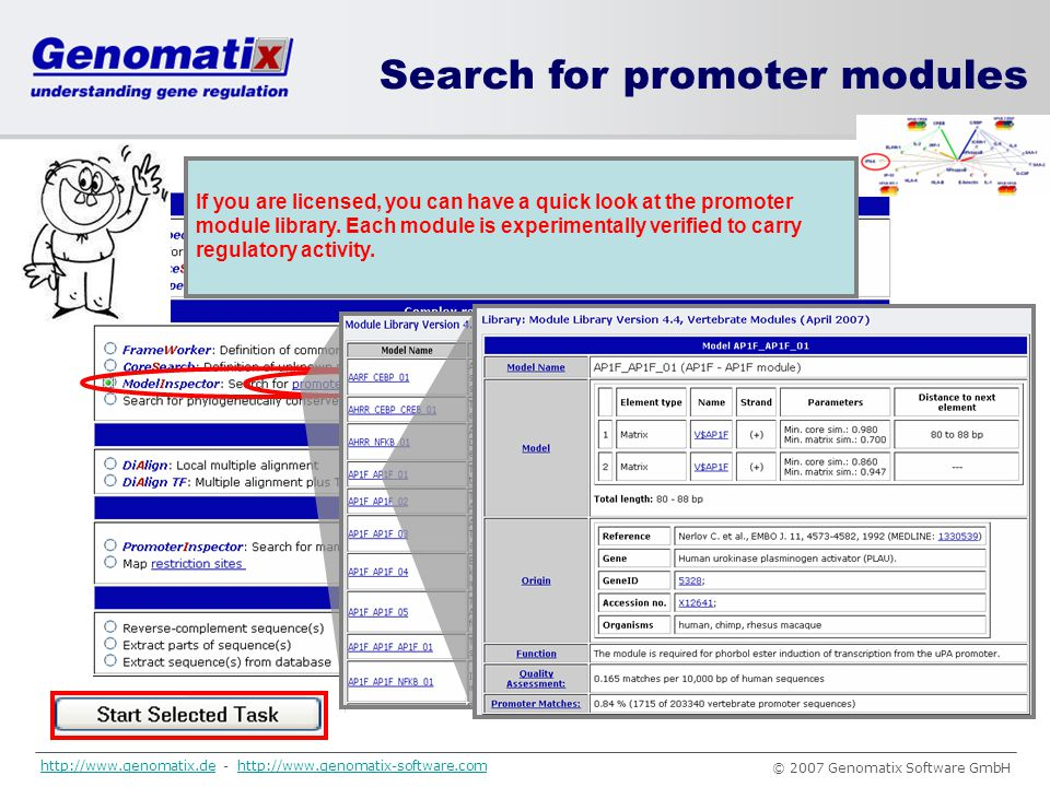 Search for promoter modules