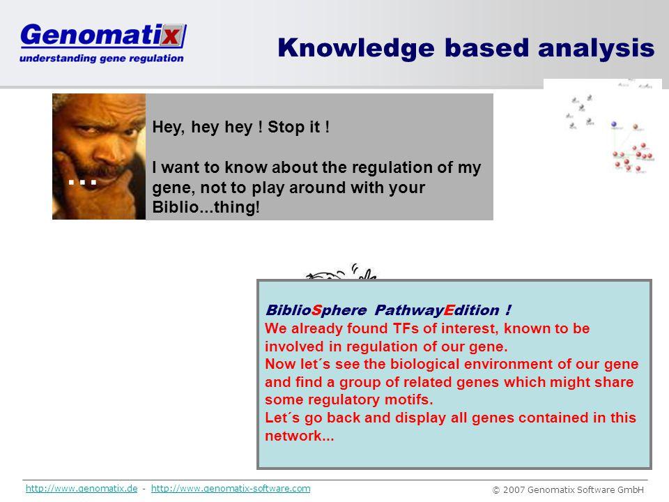 … Knowledge based analysis Hey, hey hey ! Stop it !