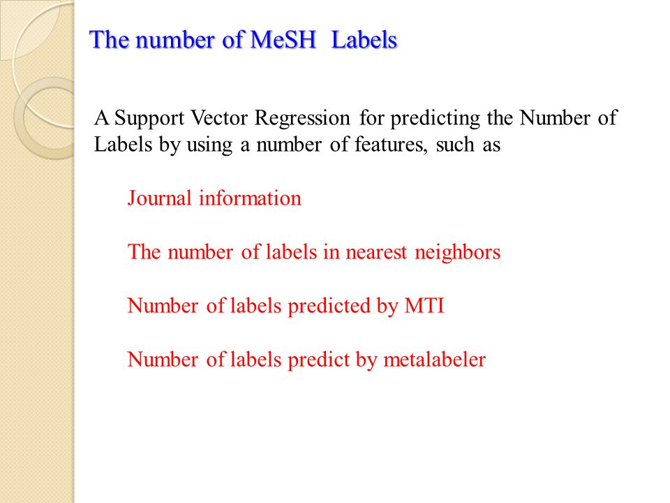 The number of MeSH Labels