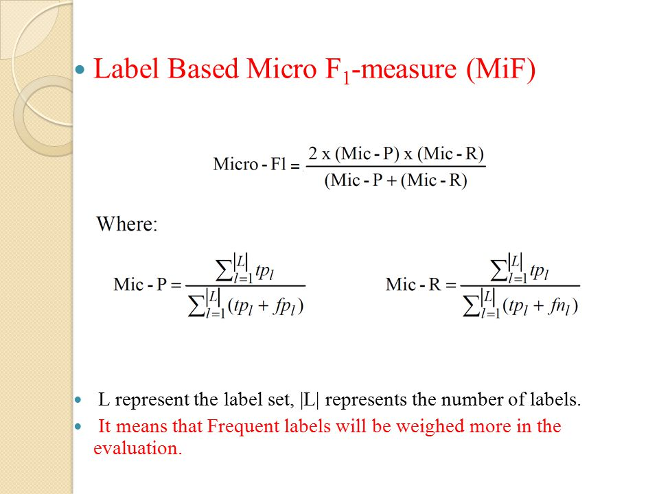 Label Based Micro F1-measure (MiF)