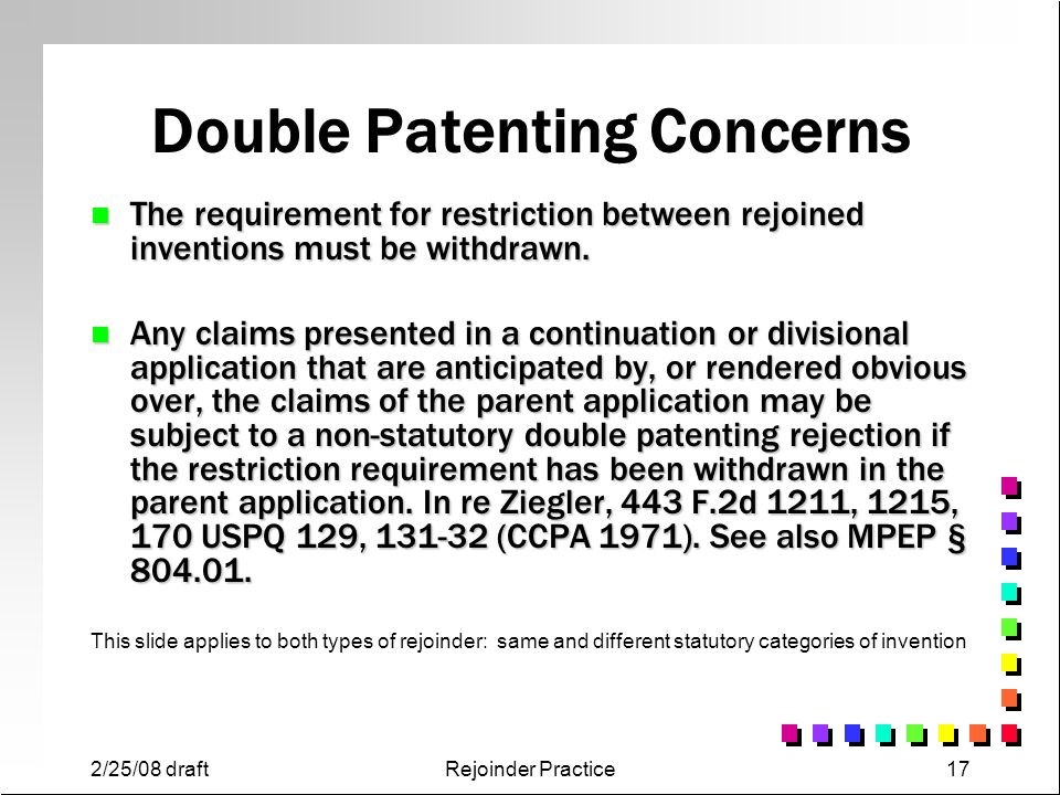 Double Patenting Concerns