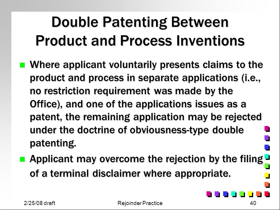 Double Patenting Between Product and Process Inventions