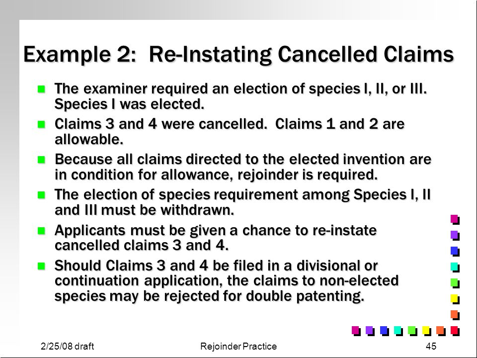 Example 2: Re-Instating Cancelled Claims