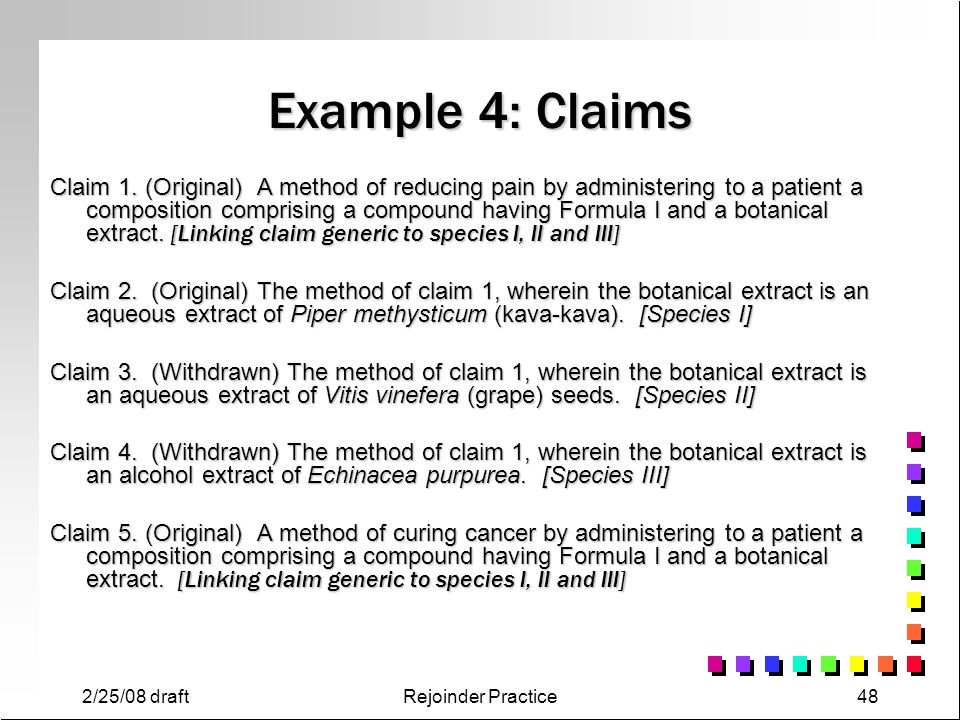 Example 4: Claims