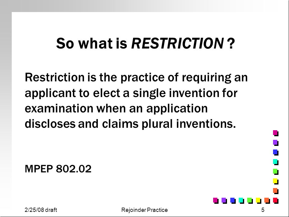 So what is RESTRICTION