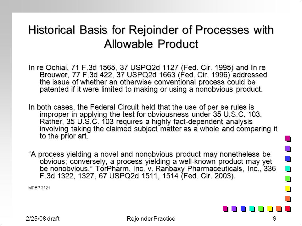 Historical Basis for Rejoinder of Processes with Allowable Product