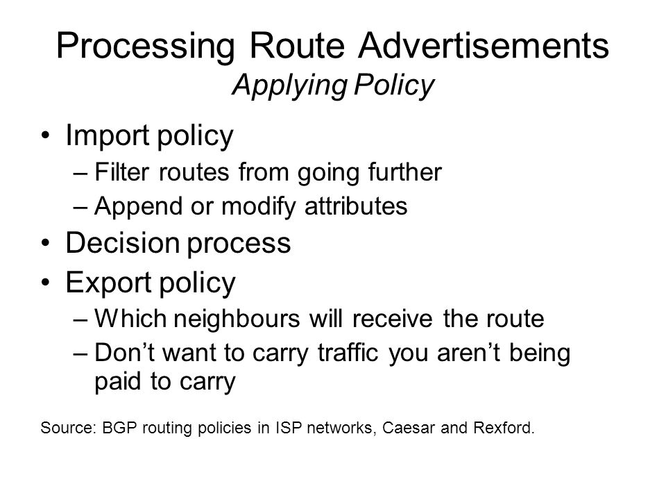 Processing Route Advertisements Applying Policy