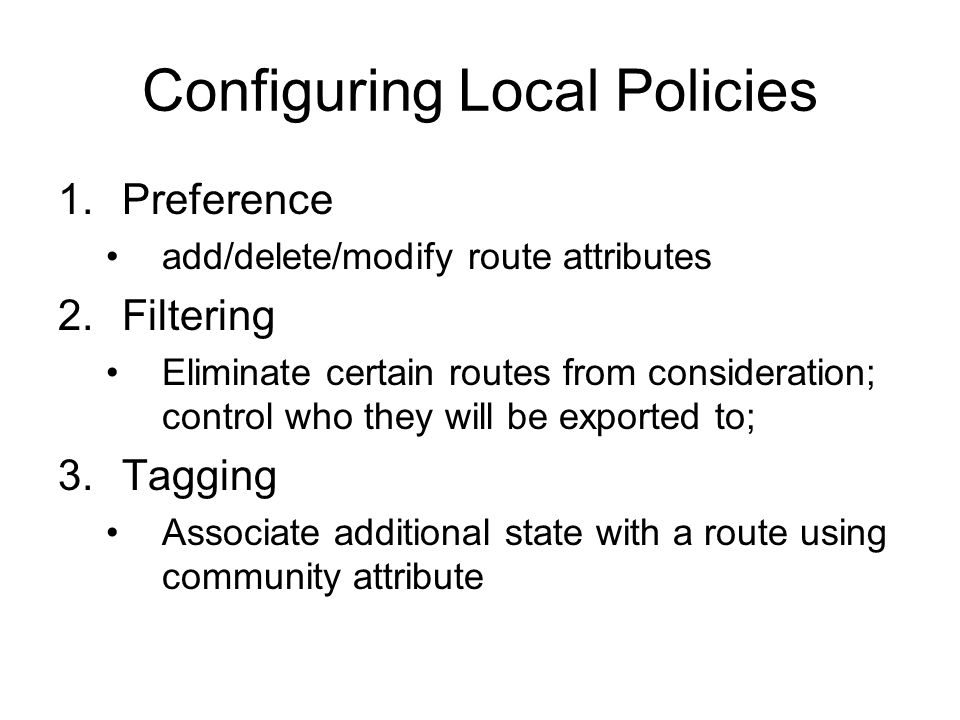 Configuring Local Policies