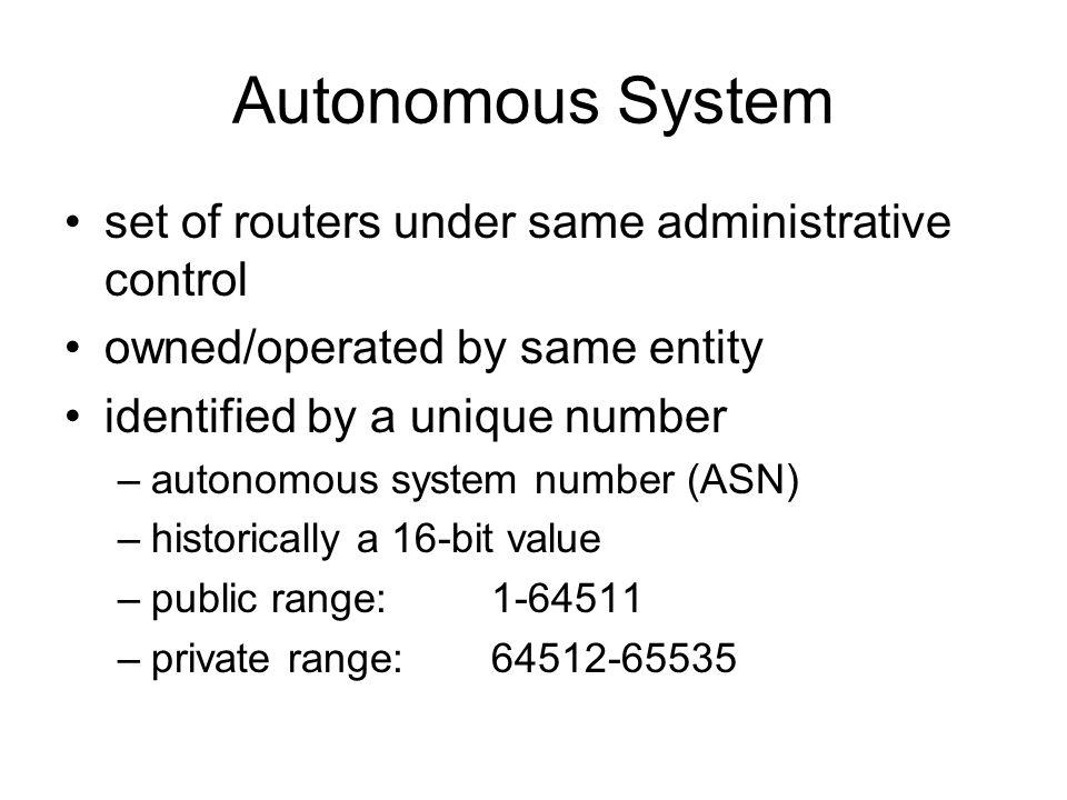 Autonomous System set of routers under same administrative control
