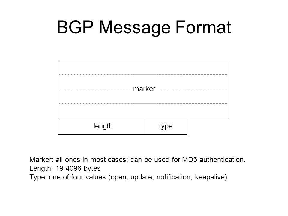 BGP Message Format marker length type