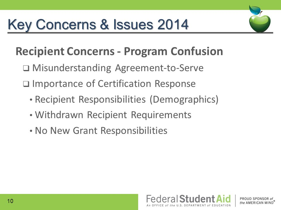 Key Concerns & Issues 2014 Recipient Concerns - Program Confusion