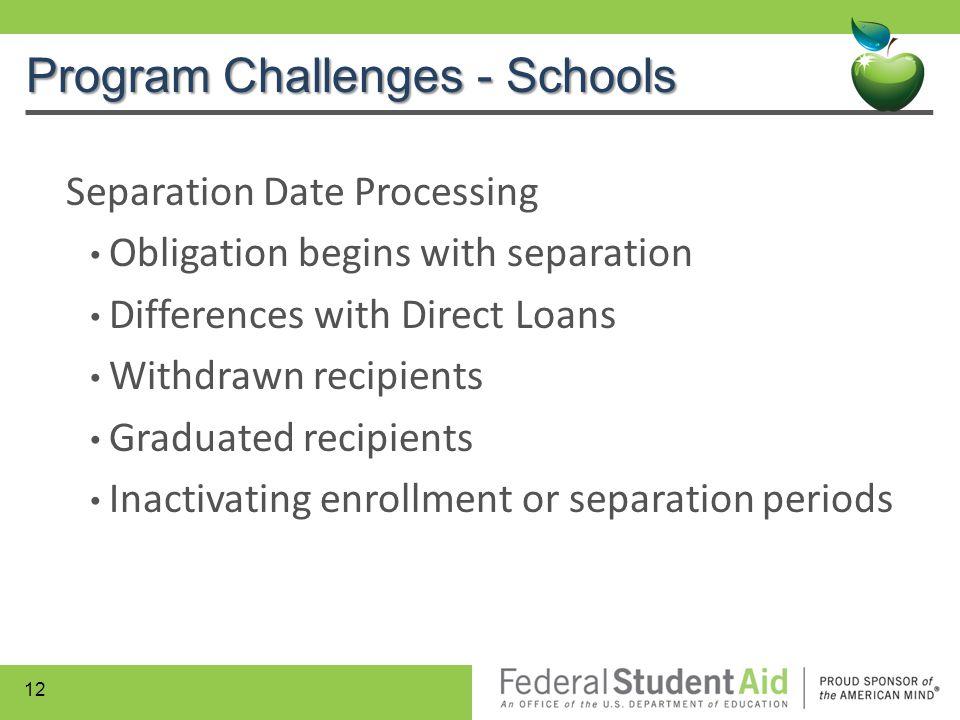 Program Challenges - Schools