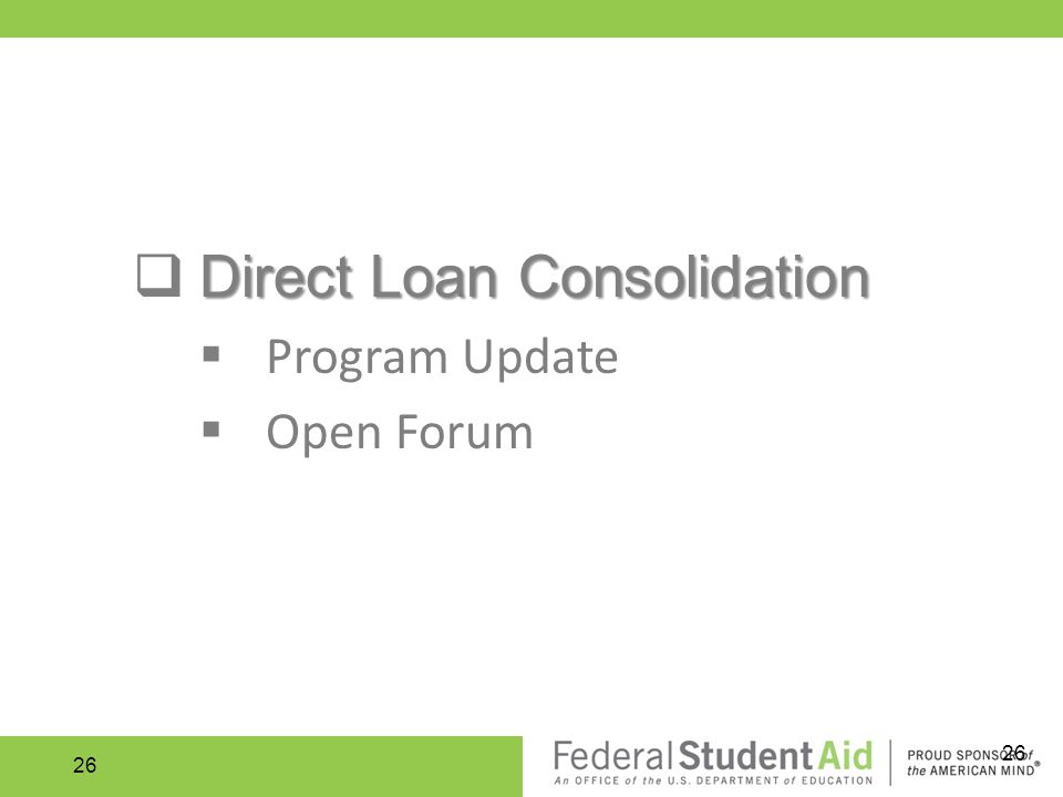 Direct Loan Consolidation