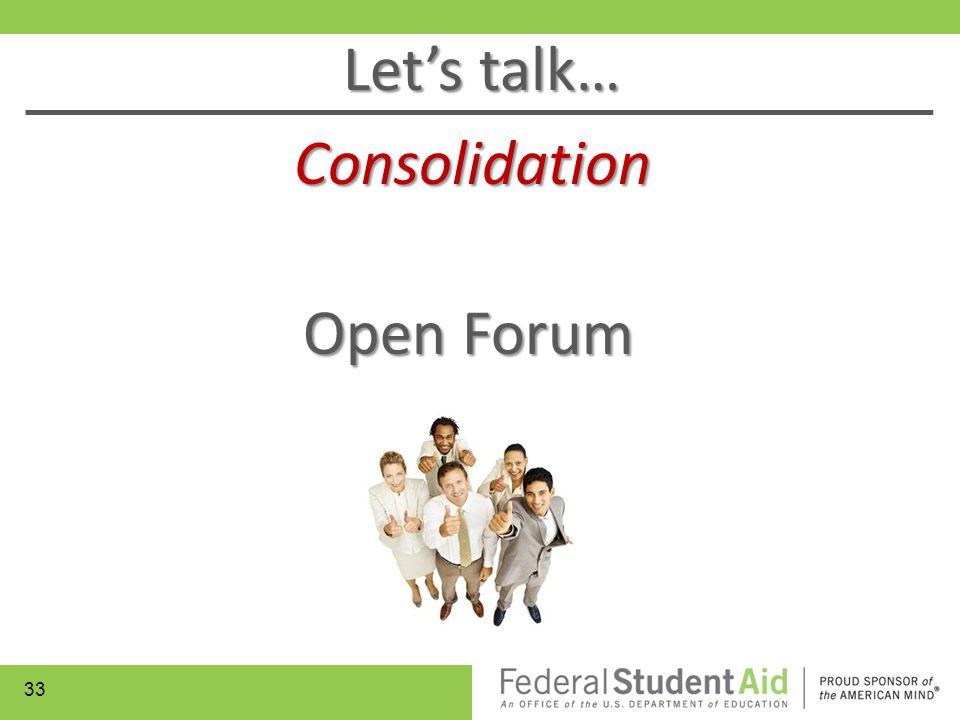 Let's talk… Consolidation Open Forum