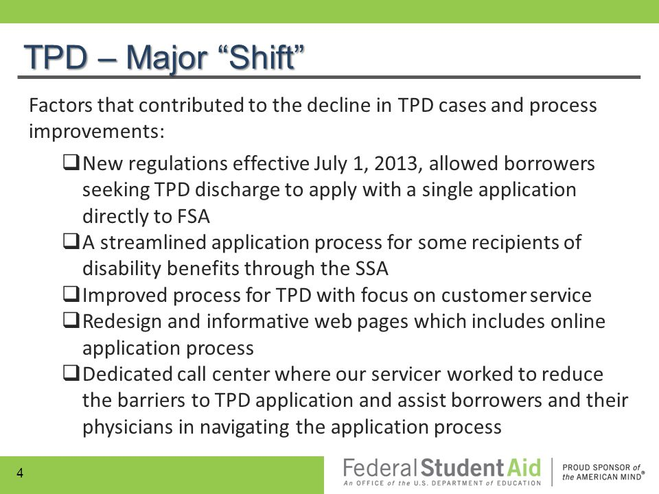 TPD – Major Shift Factors that contributed to the decline in TPD cases and process improvements: