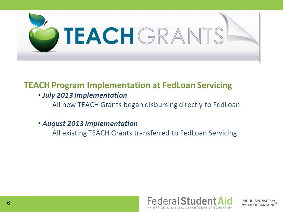 TEACH Program Implementation at FedLoan Servicing